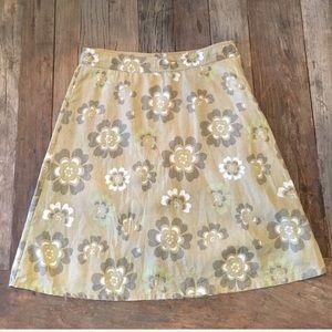 H&M L.O.G.G. Green White Floral Linen A-line Skirt